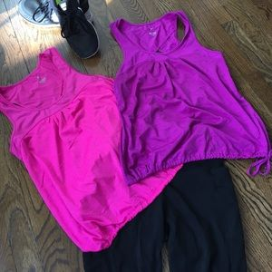 Pair or two drawstring workout tops, M